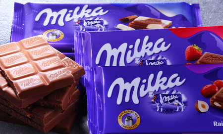 POZNAN, POL - JUN 15, 2018: Milka chocolates, a brand of chocolate confection which originated in Switzerland in 1825 and since 1990 has been manufactured by the Mondelez Int. (formerly Kraft Foods) Editorial