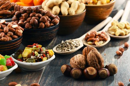 Composition with dried fruits and assorted nuts. Delicacies