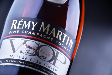 POZNAN, POL - JUN 30, 2018: Bottle of Remy Martin, the brand that specialises in Cognac Fine Champagne.