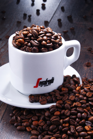 POZNAN, POL - AUG 3, 2018: Cup of Segafredo Zanetti, a coffee brand owned by Massimo Zanetti Beverage Group the biggest private company in the coffee industry headquartered in Bologna, Italy Editorial