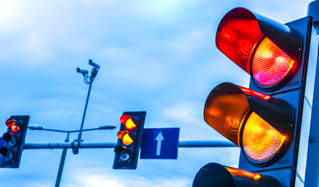 Traffic lights over urban intersection. Stockfoto