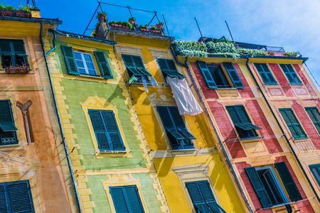 Architecture of Portofino, in the Metropolitan City of Genoa on the Italian Riviera in Liguria, Italy