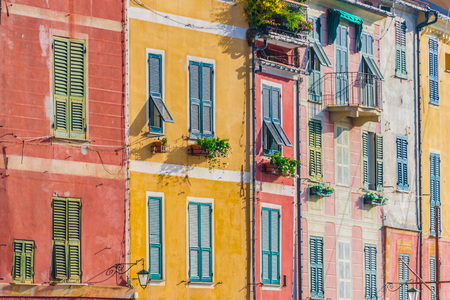 Architecture of Portofino, in the Metropolitan City of Genoa on the Italian Riviera in Liguria, Italy