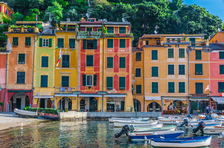 Picturesque fishing village and holiday resort Portofino, in the Metropolitan City of Genoa on the Italian Riviera in Liguria, Italy