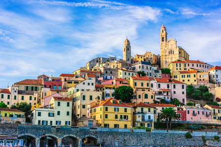 The village of Cervo on the Italian Riviera in the province of Imperia, Liguria, Italy Imagens - 110954619