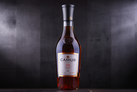 POZNAN, POL - SEP 27, 2018: Bottle of Camus Cognac, a brand founded by Jean-Baptiste Camus in 1863, headquarted in Cognac, France