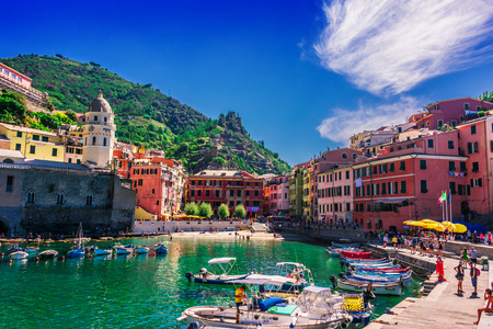 VERNAZZA, ITALY - SEP 12, 2018: Picturesque town of Vernazza, in the province of La Spezia, Liguria, Italy Editorial
