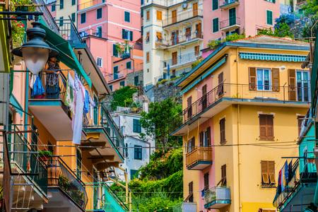 Architecture of Manarola, in the province of La Spezia, Liguria, Italy
