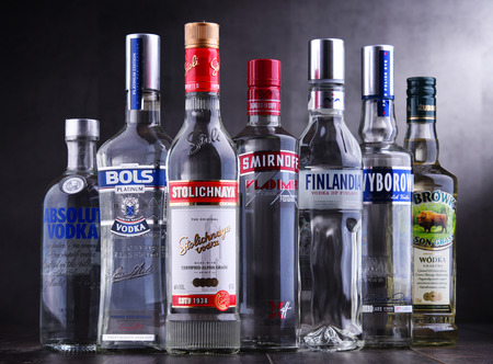 POZNAN, POLAND - NOV 15, 2018: Bottles of several global brands of vodka, the world's largest internationally traded spirit with the estimated sale of about 500 million nine-liter cases a year. Sajtókép