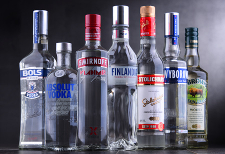 POZNAN, POLAND - NOV 15, 2018: Bottles of several global brands of vodka, the world�s largest internationally traded spirit with the estimated sale of about 500 million nine-liter cases a year.
