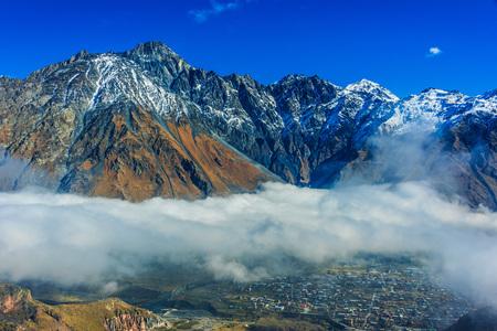 Mountains over Stepantsminda formerly Kazbegi in the Khevi province, Georgia. Greater Caucasus.