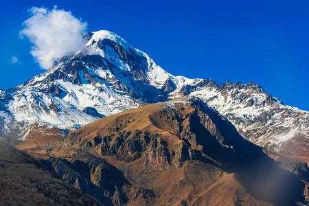 Mount Kazbek, the third highest peak in Georgia. Greater Caucasus.
