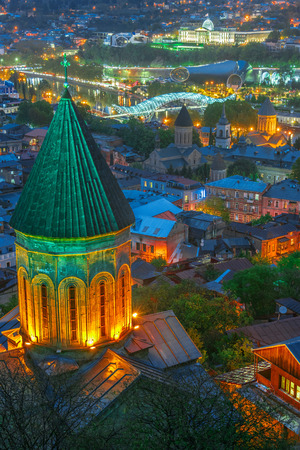 Panoramic view of Tbilisi, Georgia after sunset
