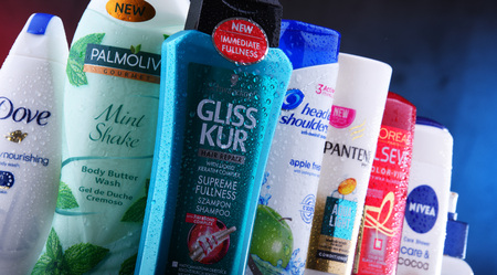 POZNAN, POLAND - DEC 5, 2018: Plastic containers of body care products including widely available most popular global brands as LOreal, Nivea, Dove, Palmolive, Head & Shoulders and Schwarzkopf Editorial