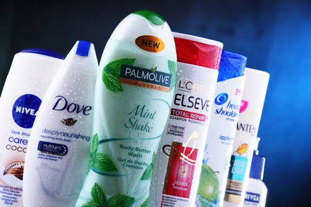 POZNAN, POLAND - DEC 5, 2018: Plastic containers of body care products including widely available most popular global brands as LOreal, Nivea, Dove, Palmolive and Head & Shoulders