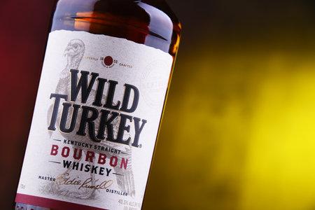 POZNAN, POL - DEC 12, 2018: Bottle of Wild Turkey, a brand of Kentucky straight bourbon whiskey produced by the Austin Nichols division of Campari Group Redakční