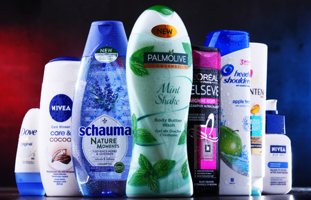 POZNAN, POLAND - DEC 5, 2018: Plastic containers of body care products including widely available most popular global brands as LOreal, Nivea, Dove, Palmolive, Head & Shoulders and Schwarzkopf Editöryel