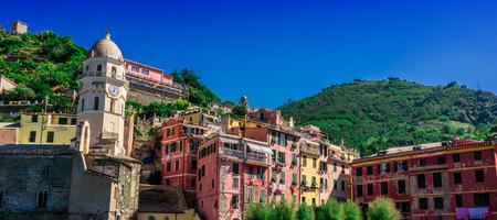 Picturesque town of Vernazza, in the province of La Spezia, Liguria, Italy Imagens