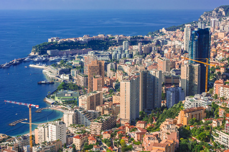View of the city of Monaco. French Riviera.