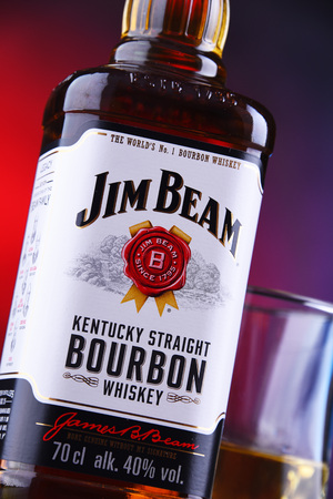 POZNAN, POL - JAN 24, 2019: Bottle of Jim Beam, one of best selling brands of bourbon in the world, produced by Beam Inc. in Clermont, Kentucky