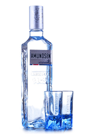 POZNAN, POL - JAN 24, 2019: Bottle of Amundsen Vodka, a brand of vodka produced by Arcus ASA, Norways largest wholesaler of wine and liquor. 에디토리얼