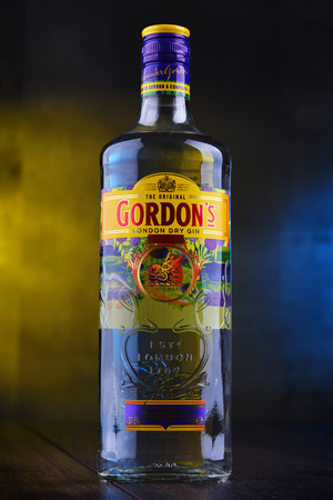 POZNAN, POL - DEC 12, 2018: Bottle of Gordons London Dry, a brand of the worlds best selling London Dry gin. It is owned by the British spirits company Diageo.