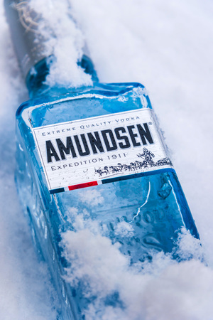 POZNAN, POL - JAN 26, 2019: Bottle of Amundsen Vodka, a brand of vodka produced by Arcus ASA, Norways largest wholesaler of wine and liquor.