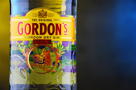 POZNAN, POL - DEC 12, 2018: Bottle of Gordon's London Dry, a brand of the world's best selling London Dry gin. It is owned by the British spirits company Diageo. Stockfoto - 122639564