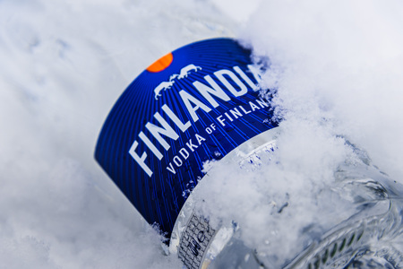 POZNAN, POL - JAN 24, 2019: Bottle of Finlandia, a brand of Finnish vodka owned by the Brown-Forman Corporation and distributed in 135 countries. Stok Fotoğraf - 122639580