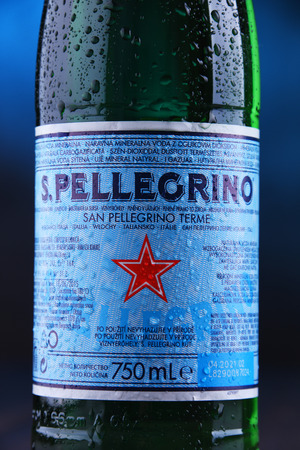 POZNAN, POL - JAN 24, 2019: Bottle of San Pellegrino, an Italian brand of mineral water made in the Province of Bergamo, Italy. Owned by Nestle since 1997.