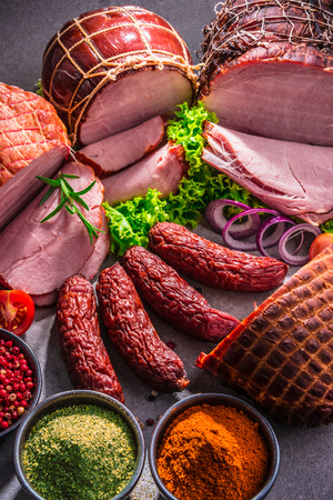 Composition with assorted meat products. Foto de archivo - 116239744