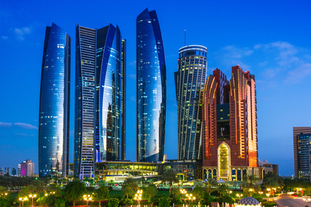 ABU DHABI, UNITED ARAB EMIRATES - FEB 13, 2019: Etihad Towers in Abu Dhabi, United Arab Emirates after sunset