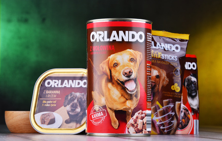 POZNAN, POL - MAR 15. 2019: Orlando products, popular brand of dog food in can and packages