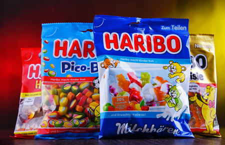 POZNAN, POL - MAR 22, 2019: Packages of gummy candies produced by Haribo, a German confectionery company, founded in 1920 by Johannes Hans Riegel, Sr. Redakční