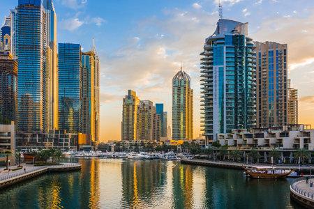 Modern residential architecture of Dubai Marina, United Arab Emirates.