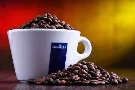 POZNAN, POLAND - MAR 29, 2019: Cup of Lavazza coffee, a brand owned by an Italian manufacturer of coffee products, founded in Turin in 1895 by Luigi Lavazza. Foto de archivo - 122640043