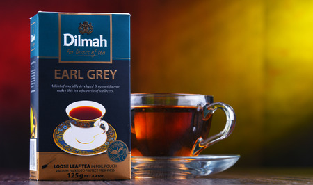 POZNAN, POL - MAR 28, 2019: Package of Dilmah, a famous Sri Lankan brand of tea founded in 1988 by Merrill J Fernando