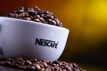 POZNAN, POLAND - MAR 29, 2019: Cup of Nescafe coffee, a brand of Swiss coffee made by Nestle and introduced in 1938 Foto de archivo - 122640170