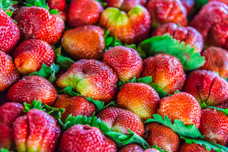 Strawberries sold on the street market stall.
