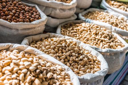 Dried food products sold at the Chorsu Bazaar in Tashkent, Uzbekistan