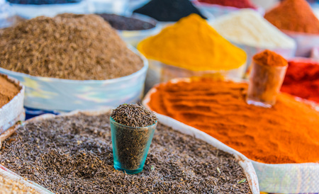 Spices and dried food products sold at the Chorsu Bazaar in Tashkent, Uzbekistan Stok Fotoğraf
