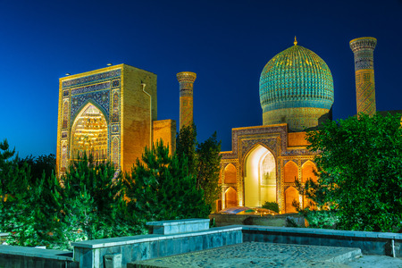 Gur-e-Amir or Guri Amir (Tomb of the King), a mausoleum of the Asian conqueror Timur in Samarkand, Uzbekistan. 에디토리얼