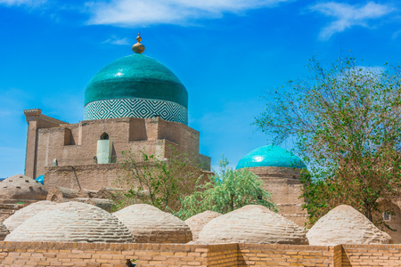 Historic architecture of Itchan Kala, walled inner town of the city of Khiva, Uzbekistan. Editorial