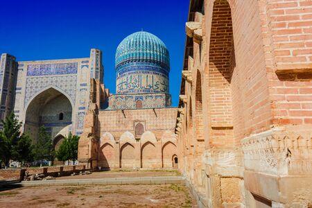 Bibi-Khanym Mosque in Samarkand, Uzbekistan. Фото со стока
