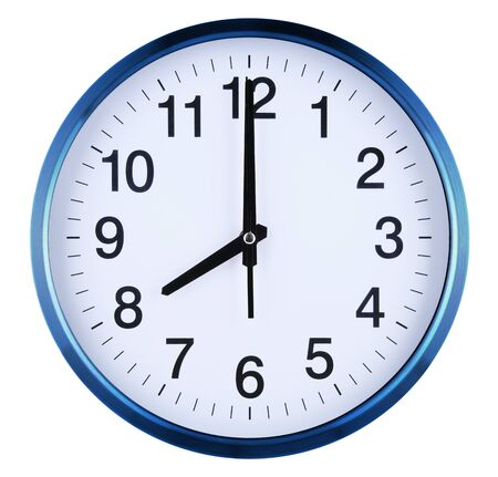 Wall clock isolated on white background. Eight oclock. Stock Photo
