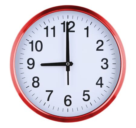 Wall clock isolated on white background. Nine oclock. Stock Photo