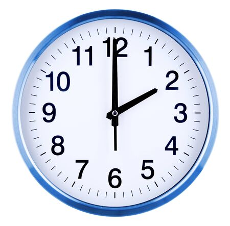 Wall clock isolated on white background. Two oclock.