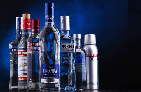 POZNAN, POL - JUN 5, 2019: Bottles of several global brands of vodka, the world?s largest internationally traded spirit with the estimated sale of about 500 million nine-liter cases a year. Editorial