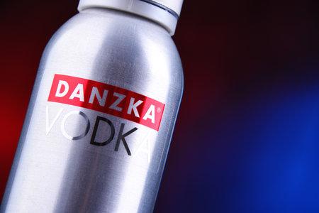 POZNAN, POL - JUN 5, 2019: Bottle of Danzka, a brand of Danish vodka owned by Belvedere SA (France)