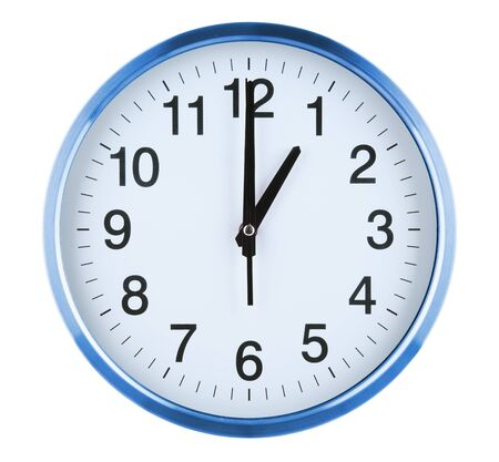 Wall clock isolated on white background. One oclock.